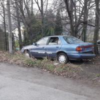 Zaniedbana działka i porzucony samochód przy parku Zwierzyniec!